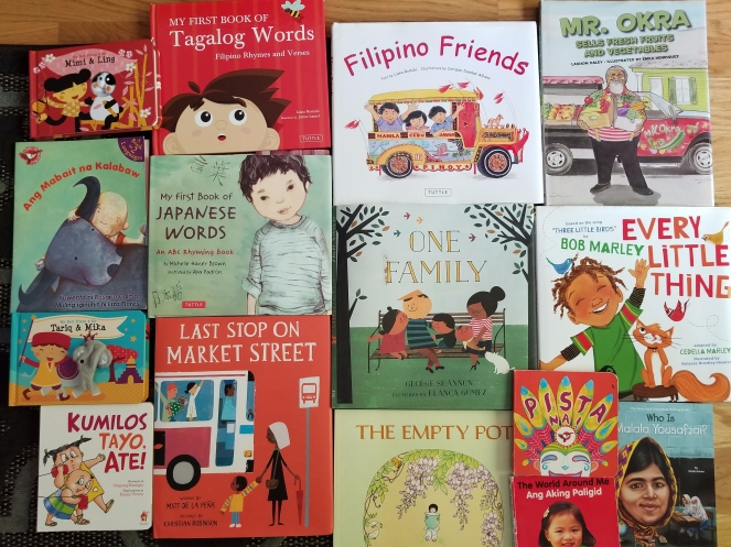 Some of the  diversity books from our home collection.